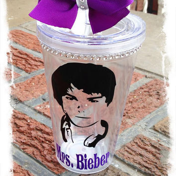 JB inspired Bling Tumbler-Bieber Fever- Justin bieber cup-Customized  Justin Bieber. Acrylic cup w/straw