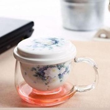 Glass Tea for One Cup with Removable Porcelain Infuser