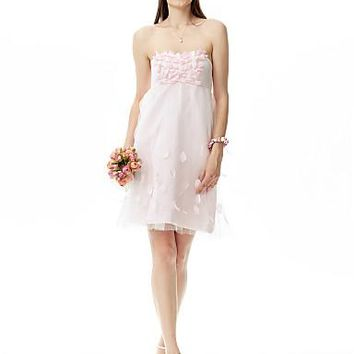 A-Line / Princess Strapless Knee Length Satin / Tulle Bridesmaid Dress with Flower by LAN TING BRIDE®