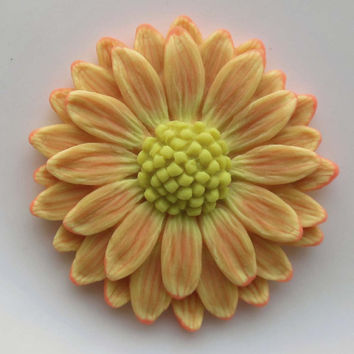 Orange Glow in the dark Daisy Pendant EyeGloArts Handmade neon Glow Jewelry Made in the USA
