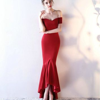 Sexy Red Mermaid Evening Dresses 2017 New Simple Sweetheart Satin Lace-Up Built-In Bra Formal Women Evening Gown Long Prom Dress