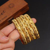 openable Dubai Gold Bangles 64*10mm width WomenMen 1pc Gold Bracelets African European Ethiopia girls Jewelry bride Bangles gift