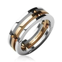 STR-0004 New 316L Stainless Steel 3 Connected Piece Ring IP Rose Gold Center; Comes With FREE Gift Box