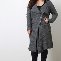 Open Knit Collared Longline Sweater Coat