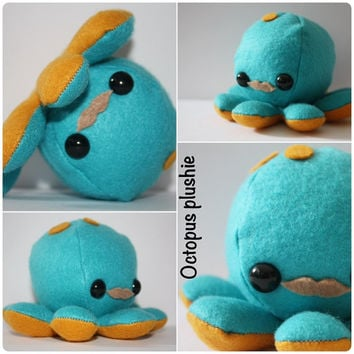 Kawaii Octopus Plush with mustach