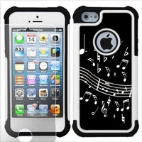 One Tough Shield (TM) Dual Layer Case (Music Notes on Black) with Clear Screen Protector for Apple iPhone 5:Amazon:Cell Phones & Accessories