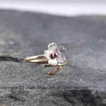 Cherry Blossom Branch RIng, 14kt Gold filled Branch Ring, adjustable ring, Gifts for her, Twig Ring, Gold filled and Silver ring