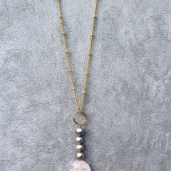 Gold Satellite Chain, Rose Quartz Necklace, Long Pearl Necklace, Long Boho Beaded Necklace, Mother's Day, Gift for Her, Gift for Women