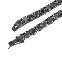 """Mens Tennis Link Chain Black Prong Set Lab Diamond Stainless Steel 6 MM Hot 36"""""""