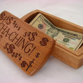 Wooden Money Storage Box, American and Canadian Bills fit, Solid Cherry, laser engraved CHA-CHING!