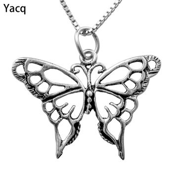 Yacq 925 Sterling Silver Butterfly Necklace Pendant W Chain Jewelry Birthday Gifts Women Wife Girlfriend Her Dropshipping CN07