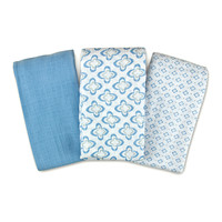 Blue Geometric SwaddleMe Muslin Blanket Set | something special every day