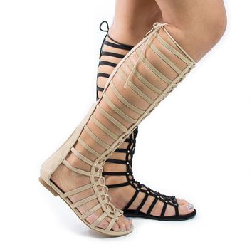 Candice57m By Bumper, Flat Elastic Lace Up Roman Gladiator Lace Up Sandal w Metal Studs