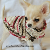 Hand Knit Chocolate Chip Cherry Chihuahua Dog Puppy Sweater