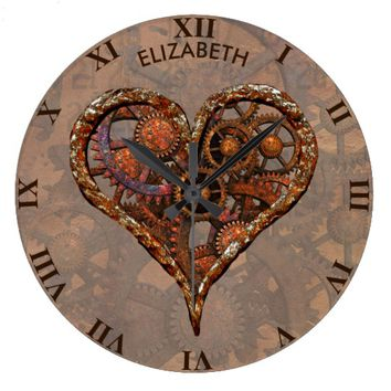 Steampunk Rusty Vintage Heart From Metal Gears Large Clock