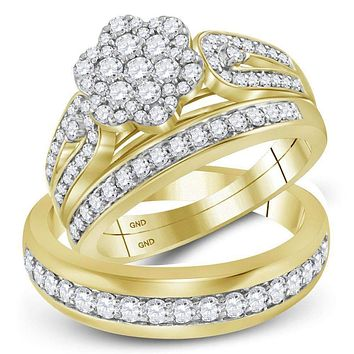 10kt Yellow Gold His & Hers Round Diamond Cluster Matching Bridal Wedding Ring Band Set 1-1/3 Cttw - FREE Shipping (US/CAN)