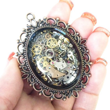 Steampunk Pendant Copper Filigree accent filled with real recycled watch parts LIMITED EDITION