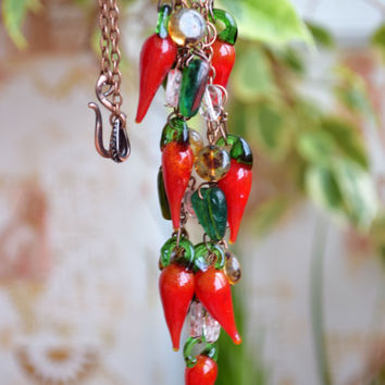 Glass Chili Pepper necklace-peppers jewelry Lampwork beads necklace Mom gift girlfriend gift hot chilli pepper glass necklace-red-green