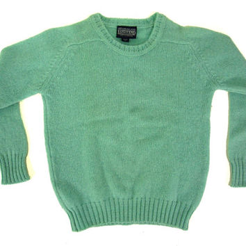 Vintage Land's End Blue Wool Sweater - Pastel Aqua Spring Pullover Jumper - Women's Size Extra Small Small Xs Sm S