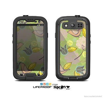 The Green & Vintage Tan & Gold Vector Birds with Flowers Skin For The Samsung Galaxy S3 LifeProof Case