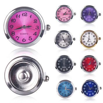 Assorted Color Round Silver Tone Quartz Watch Face Charm Ginger Snap Button for Fashion DIY Snap Jewelry Bracelet Bangle