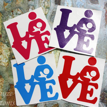 """Breastfeeding Single Or Tandem Love Block"""" Car/Computer vinyl decal / Please put color choice in note to seller."""