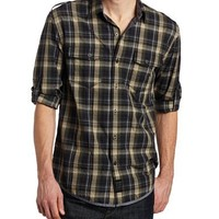 Calvin Klein Jeans Men's Screen Plaid Long Sleeve Military Shirt, Dark Navy, XX-Large