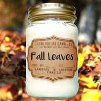 Fall Leaves 16oz Scented Candle, Fall scents, Mason Jar Candle, Outdoor scented candles, Winter scents, Thanksgiving gift, fall gift