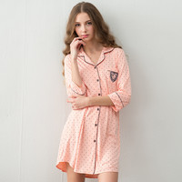 Autumn Cotton Nightgowns Sleepwear Female Women's Polka Dot Homewear Half Sleeve Sleepshirt Women Night Dress
