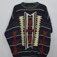 90s Southwestern Sweater Mens XL Oversize Soft Grunge Boho Hipster Ikat Arrow Vintage Men's Clothing Women Unisex Striped Preppy Hipster