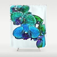 :: Orchids By The Sea :: Shower Curtain by :: GaleStorm Artworks ::