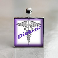 Glass Pendant in a Silver Tray - Diabetic | HCLTreasures - Jewelry on ArtFire