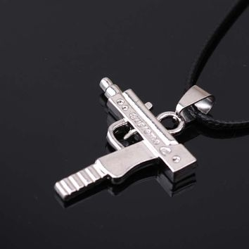 PUN punk personalized supreme pistol pendant necklace titanium steel chain best friends pen men mens chains male chocker choker