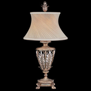 Fine Art Lamps 301610ST Winter Palace One-Light Table Lamp in Warm Antiqued Silver Finish with Hand Sewn Silk Shade