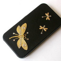 Golden Dragonflies iPhone 4 and 4s Flip Case  by LeBoudoirNoir