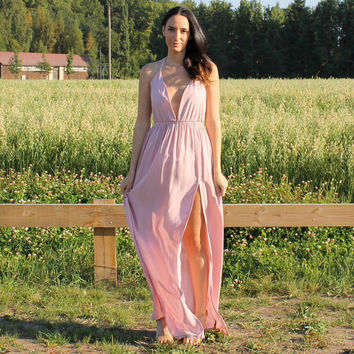 Halter dress, low V dress, open back dress, maxi dress, dress with slit, bridesmaids dress, prom dress, party dress, sexy dress, dress.