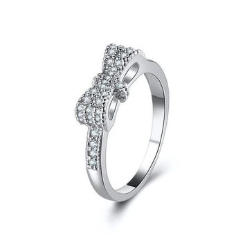 Geometrical Cubic Zircon Bow Knot Rings