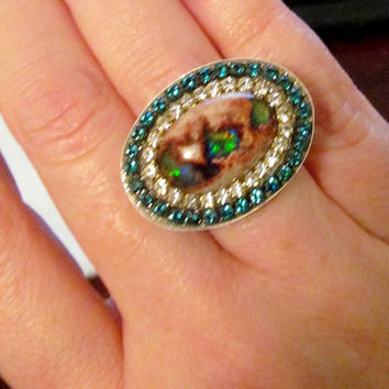 Amazing Mexican Fire Opal sterling silver ring