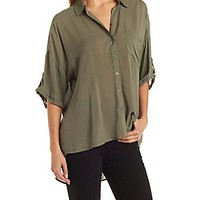OVERSIZE HIGH-LOW BUTTON-UP TOP WITH POCKET
