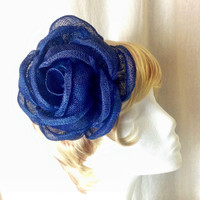 Large sapphire blue sinamay burlap sculpted hair flower fascinator clip