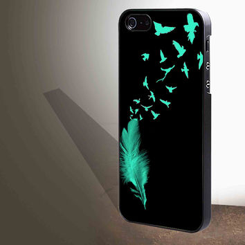 Feather to Birds Black Mint Stamp Out Tumblr Inspired Cute Cool for iphone 4/4s/5/5s/5c/6/6+, Samsung S3/S4/S5/S6, iPad 2/3/4/Air/Mini, iPod 4/5, Samsung Note 3/4 Case **
