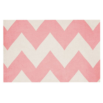 "Catherine McDonald ""Sweet Kisses"" Pink Chevron Decorative Door Mat"