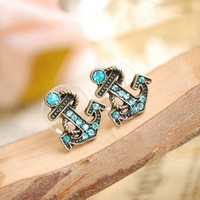 retro navy diamond sea anchor earrings stud