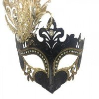 Womens Black and Gold Venetian Masquerade Mask with Gold Laser Cut Metal
