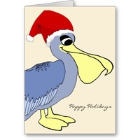 Cute Pelican Cartoon Santa Christmas Greeting Cards