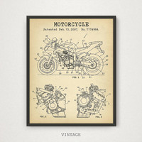Yamaha Motorcycle Patent Poster, Digital Download, Racing bike Print, Racer Gifts, Yamaha Wall Art Yamaha Motorbike Blueprint Man Cave Decor