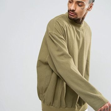 ASOS Oversized Over The Head Shirt In Khaki at asos.com