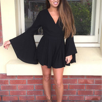 V-Neck Ling Sleeve Bell Sleeve Skater Dress