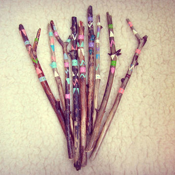 Boho Driftwood Decor - Handpainted Driftwood Sticks Vase Filler - Bohemian Gypsy Decor - Aztec Inspired - Boho Party Decoration - In Stock