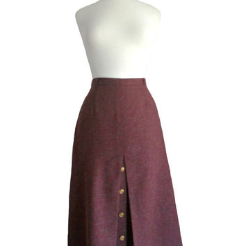 Vintage Skirt Wool Purple Midi Skirt with Slit Opening and Button Detailing by Country Suburbans Union Made - Size 8 S